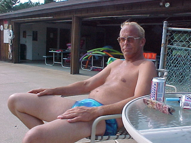 Vic, relaxing by the pool, July, 2001